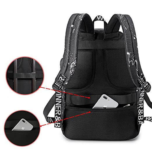 cce1f36fb7 Acmebon Waterproof School Backpack for Teen Travel Laptop Backpack with USB  Charging Port Starry  Amazon.ca  Clothing   Accessories