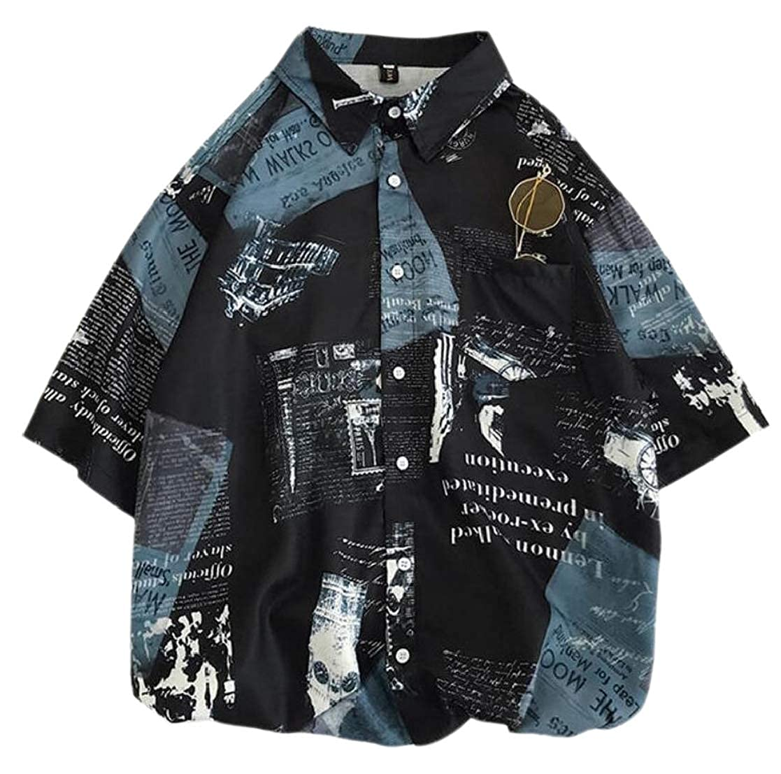 CYJ-shiba Mens Button Summer Vingtage Print Short-Sleeve Shirt Blouse Tops