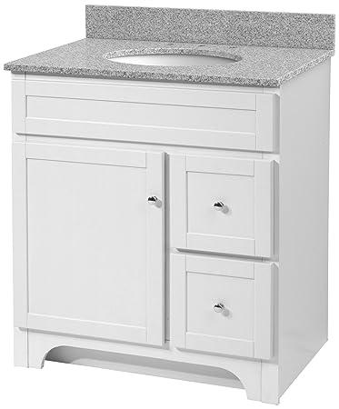 foremost worthington 30inch white bathroom vanity with meteorite gray granite top