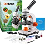 Dicfeos Microscope for Kids and Student, 40X-100X-250X-400X-1000X Magnification, Optics Glass Lens, Dual-Light…