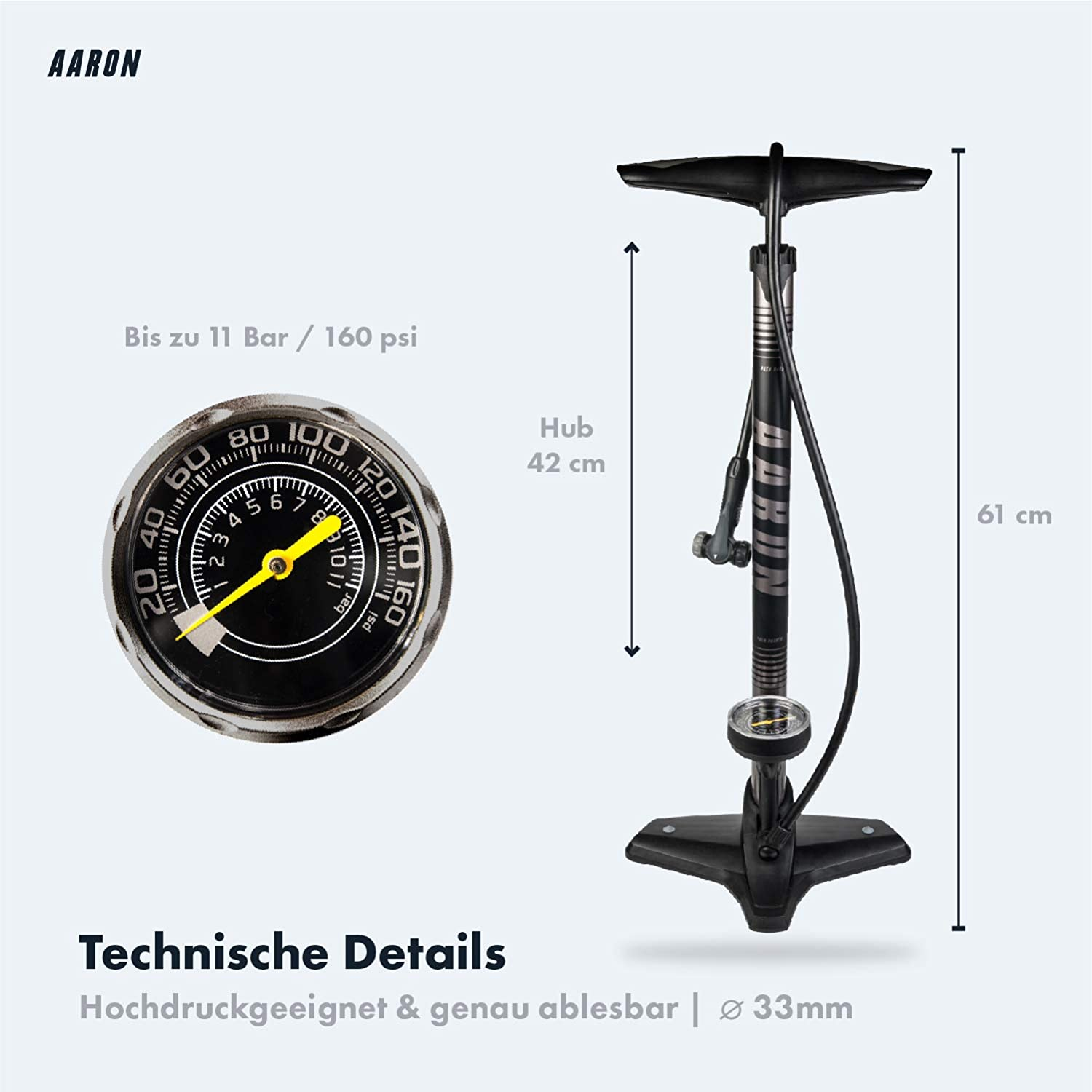 with ball needles bicycle pump road bike bicycle air pump with manometer AARON Sport One bicycle high pressure floor pump for all valves