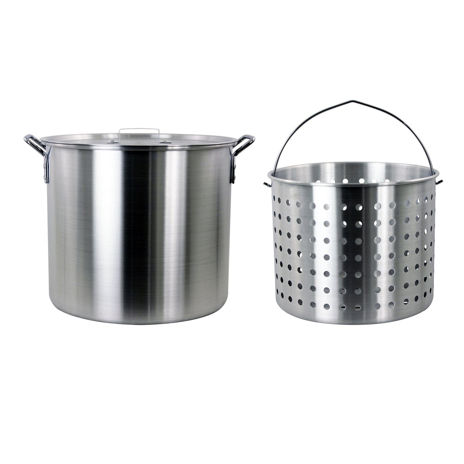 CHARD ASP42, Aluminum Stock Pot and Perforated Strainer Basket Set, 42 quart