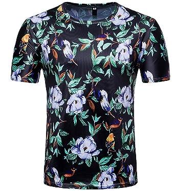 Hawaïen De À Veste Plage Shirt Manches Imprimé T Courtes Homme zMGUpqSV