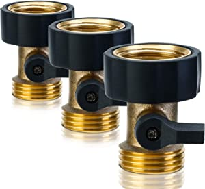 3 Pack Heavy Duty Brass Shut Off Valve 3/4 Inch Garden Hose Connector for Garden Hose and Water Faucet (Joiner)