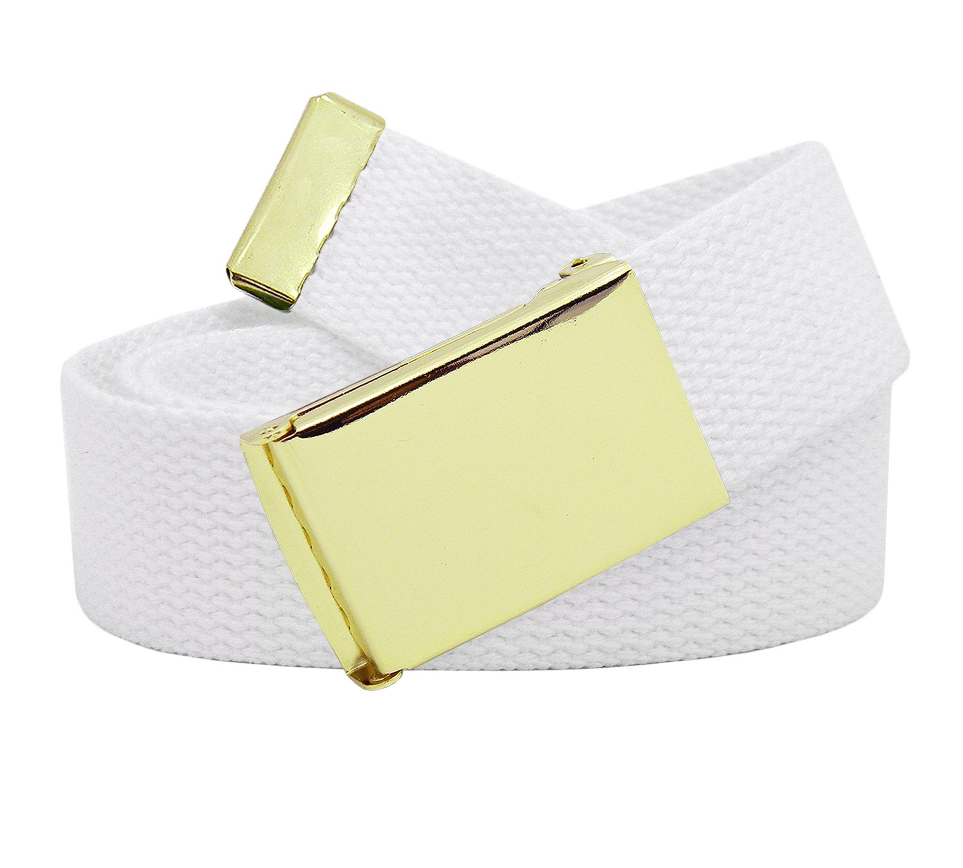 Women's Gold Brass Flip Top Belt Buckle with Canvas Web Belt X-Large White