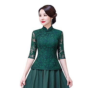 245899c7bc79a Amazon.com  Shanghai Story Cheongsam Shirt 3 4 Sleeve Chinese Top Lace Chinese  Blouse  Clothing
