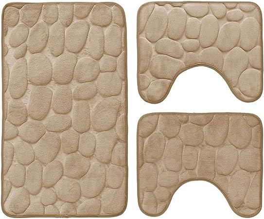 Tappetino da bagno antiscivolo Sassolini Tappeto Memory foam 50x80 cm R292 BORDEAUX