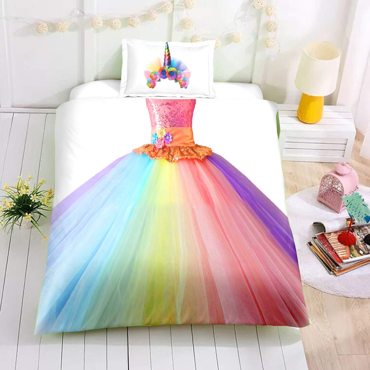 Felu Bedding Duvet Cover Set of Kids, Unique Design 3D Print Rainbow Dress Pattern Comforter Cover Set with 1 Duvet Cover and 1 Pillowcases (Twin Size)
