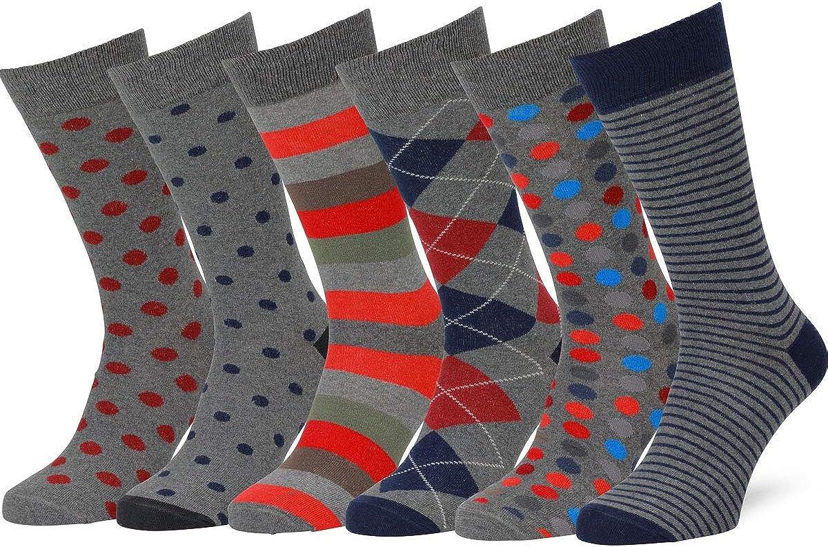 Easton Marlowe Dress Socks 6 Pack Colorful Socks for Men Patterned Happy Fun Mens Dress Socks