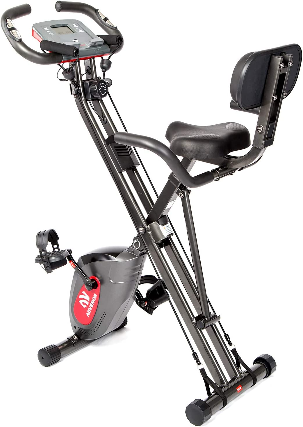 ADVENOR Exercise Bike Magnetic Bike Fitness Bike Cycle Folding Stationary Bike Arm Resistance Band With Arm Workout Backrest Extra-Large Seat Cushion Indoor Home Use