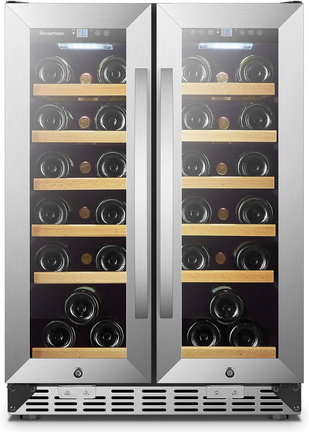 Sinoartizan 24 Inch Wine Cooler Refrigerator with Stainless Steel French Doors, Dual Zone Wine Fridge for Built In