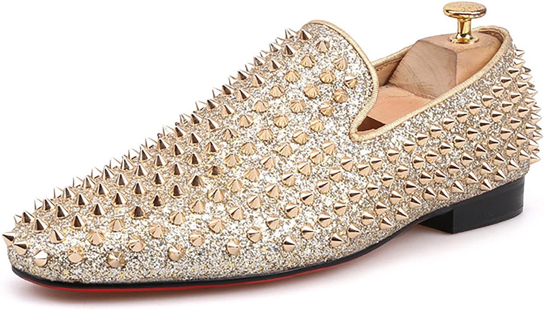 HI\u0026HANN Men Gold Spikes Leather Shoes