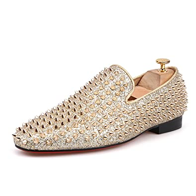 f5425d64c93 HI HANN Men Gold Spikes Leather Shoes Men Dress Loafers Prom Smoking  Slippers-6-Gold