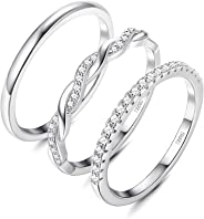 Milacolato 3 Pcs 925 Sterling Silver CZ Eternity Band Smooth Twisted Stackable Ring Set for Women Comfort Fit Size 5 to 9
