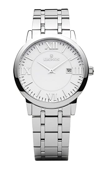 Kronos - Elegance White 974.8.35 -Reloj de Caballero de Cuarzo, Brazalete de Acero, Color Esfera: Blanca: Amazon.es: Relojes