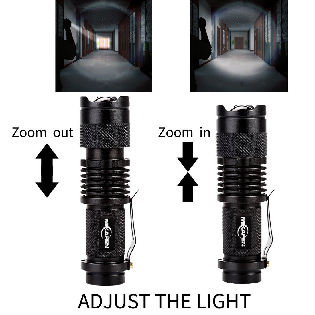 MIKAFEN 5 Pack Mini Flashlights LED Flashlight 300lm Adjustable Focus Zoomable
