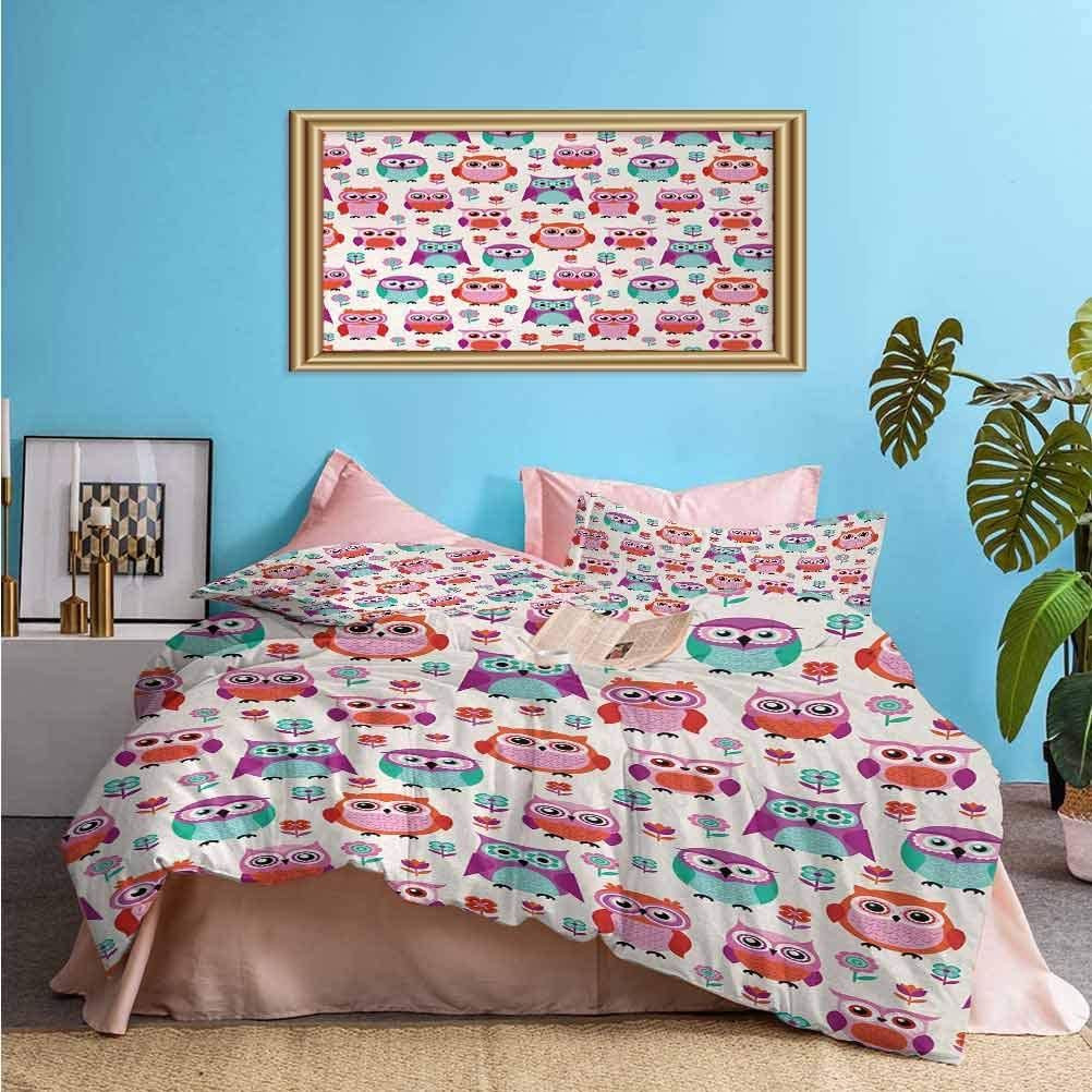 Owls 3pcs Bedding Duvet Cover Set Owls Happy Childhood Hipster Modern Repeated Animals Pattern Illustration Easy Care, Wrinkle Resistant Orange Fuchsia Seafoam 1 Duvet Cover/2 Pillowcases Twin