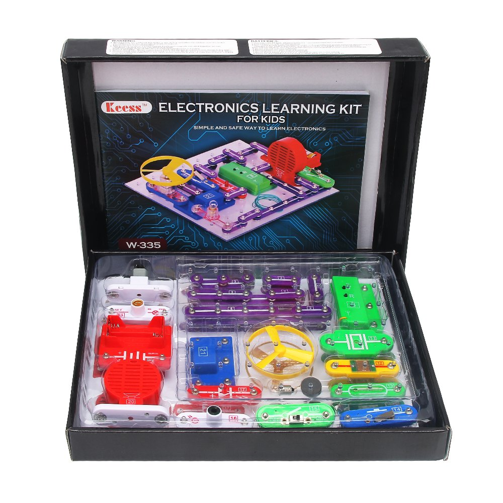 Electronics Learning Kit for Kids, Best Electric Building Blocks to Learn about Electricity and Circuits, W335, by Keess Toys …