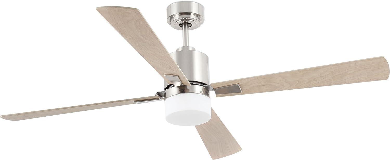 Faro Barcelona 33470 - PALK Ventilador de techo con luz Niquel satinado 4 palas diametro 1320 mm con mando a ...