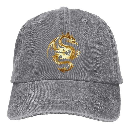 89ebb59bc58 Gold Dragon Denim Hat Adjustable Cute Baseball Cap at Amazon Men s Clothing  store
