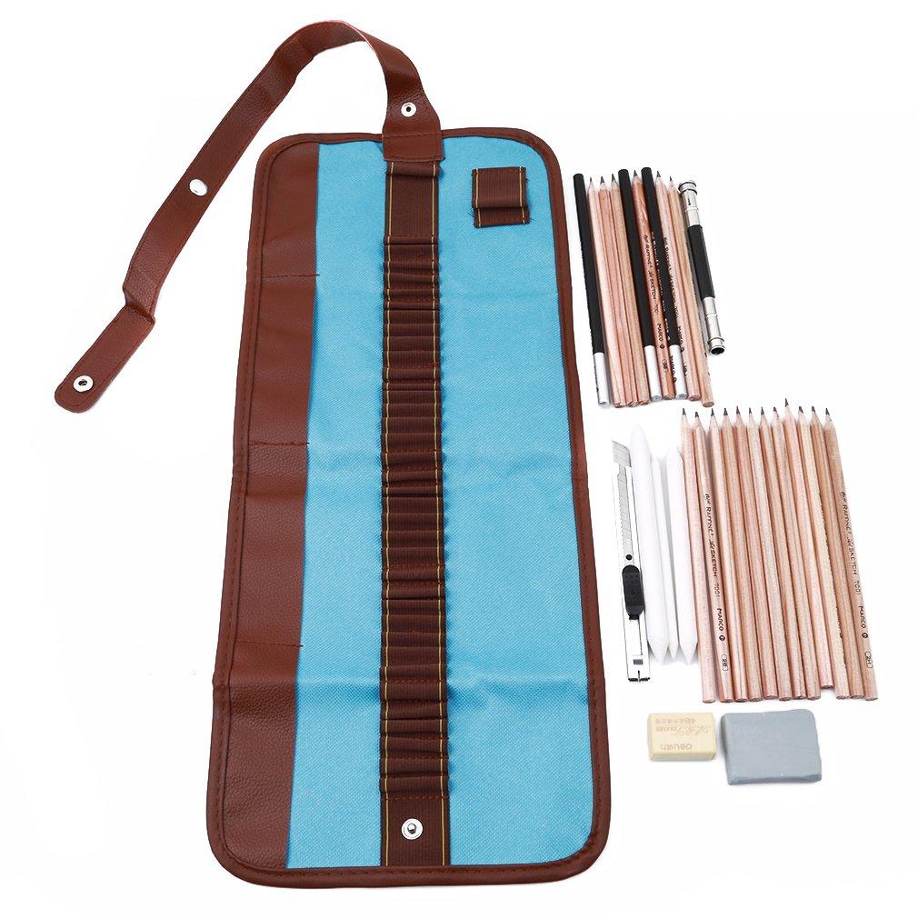 Meolin Beginner Sketch Set 18 Sketch Pencil Charcoal Eraser Pen Cutter Sketch Tools,blue,As Description