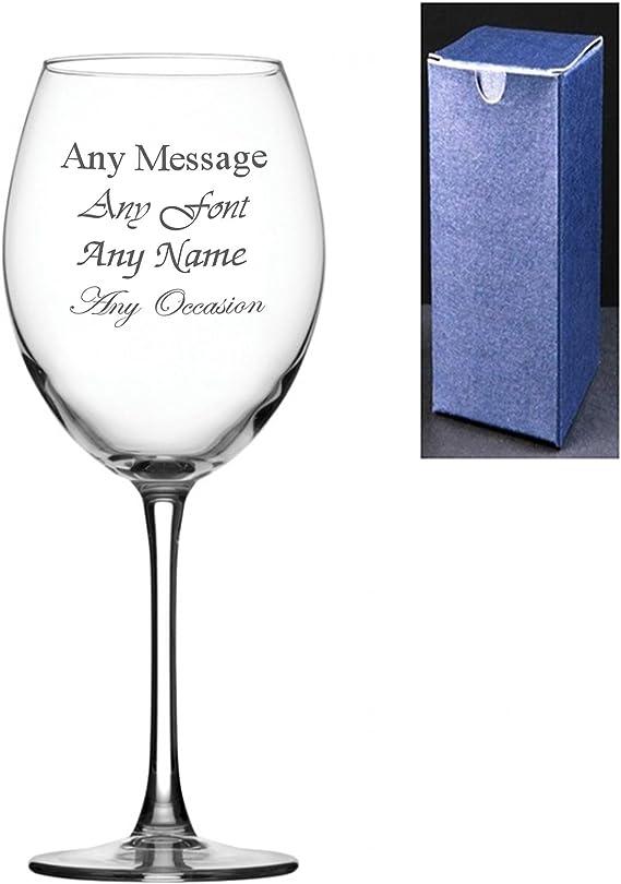 Enoteca - Copa de vino con caja de regalo (grabado en cualquier mensaje): Amazon.es: Hogar