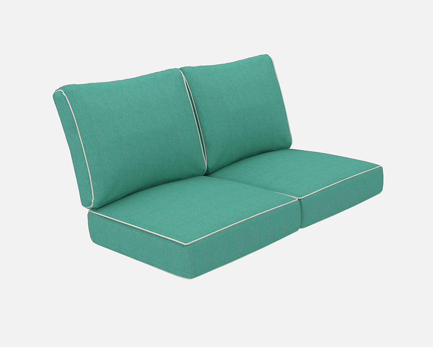 Living Express Patio Furniture Cushion, Outdoor Loveseat Cushion, Deep Seating Seat/Back Cushion Set, Replacement Cushions Set, Teal Blue