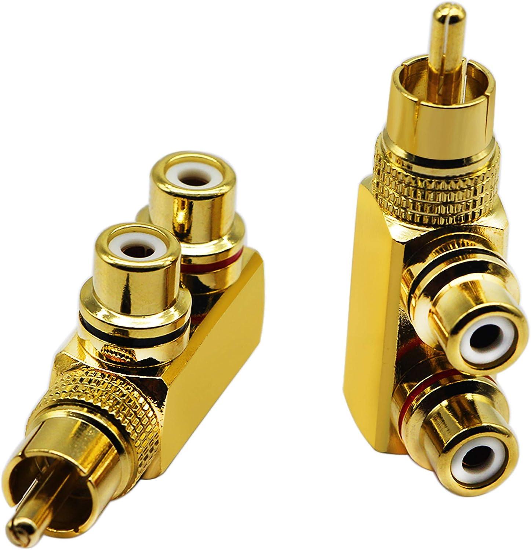 zdyCGTime Lot de 2 adaptateurs r/épartiteurs RCA m/âle /à Angle Droit 90 degr/és vers 2 Prises RCA Femelles Audio Vid/éo Connecteur en m/étal plaqu/é Or M//F