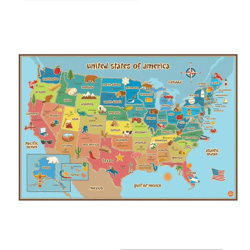 ZEKUI USA Dry Erase Map Decal Wall Decals American Wall Map