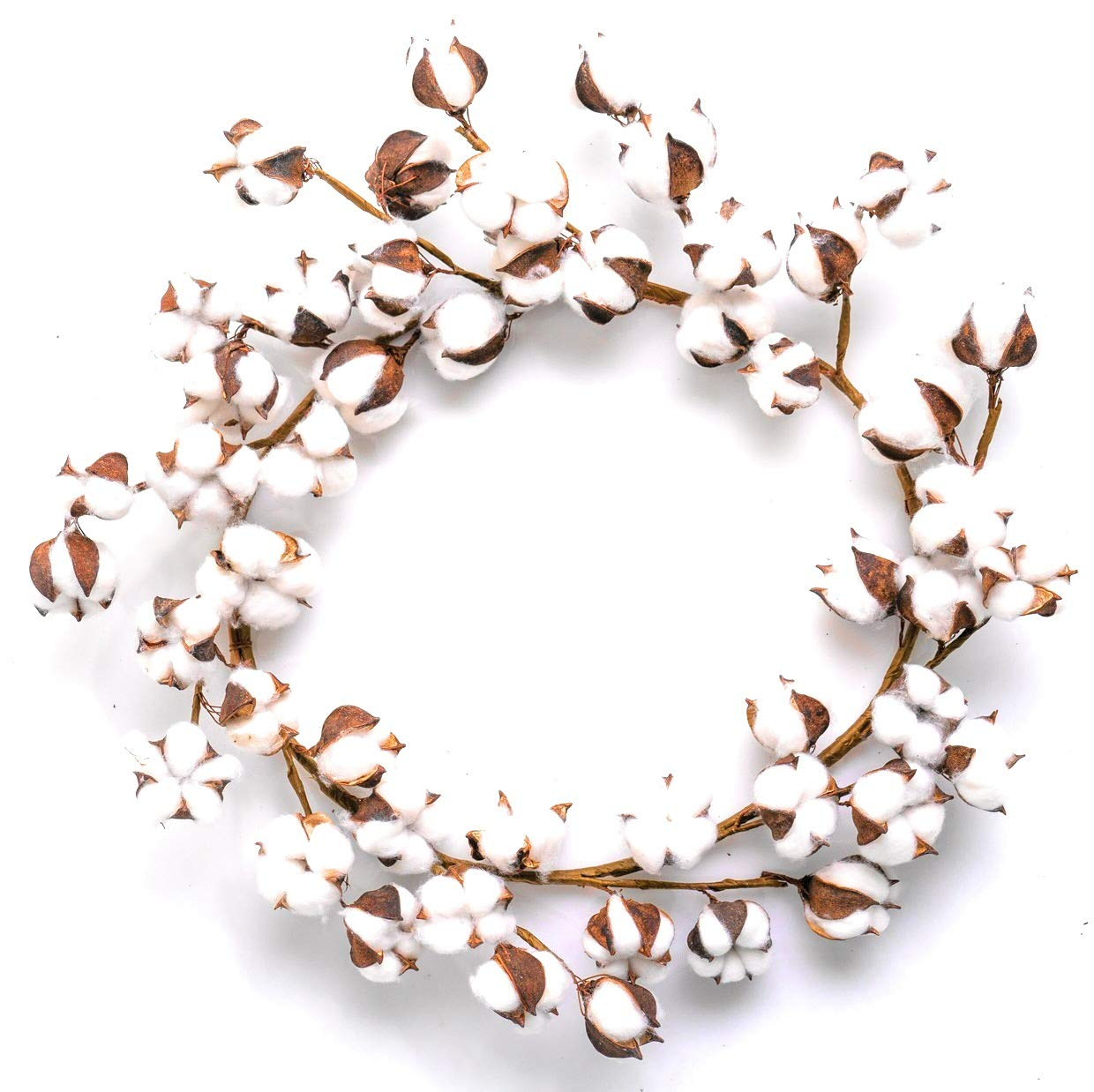 Farmhouse Cotton Wreath for Front Door, 18-24 inch Decor Wall Hanger w/Adjustable Stems (50 Cotton bolls)