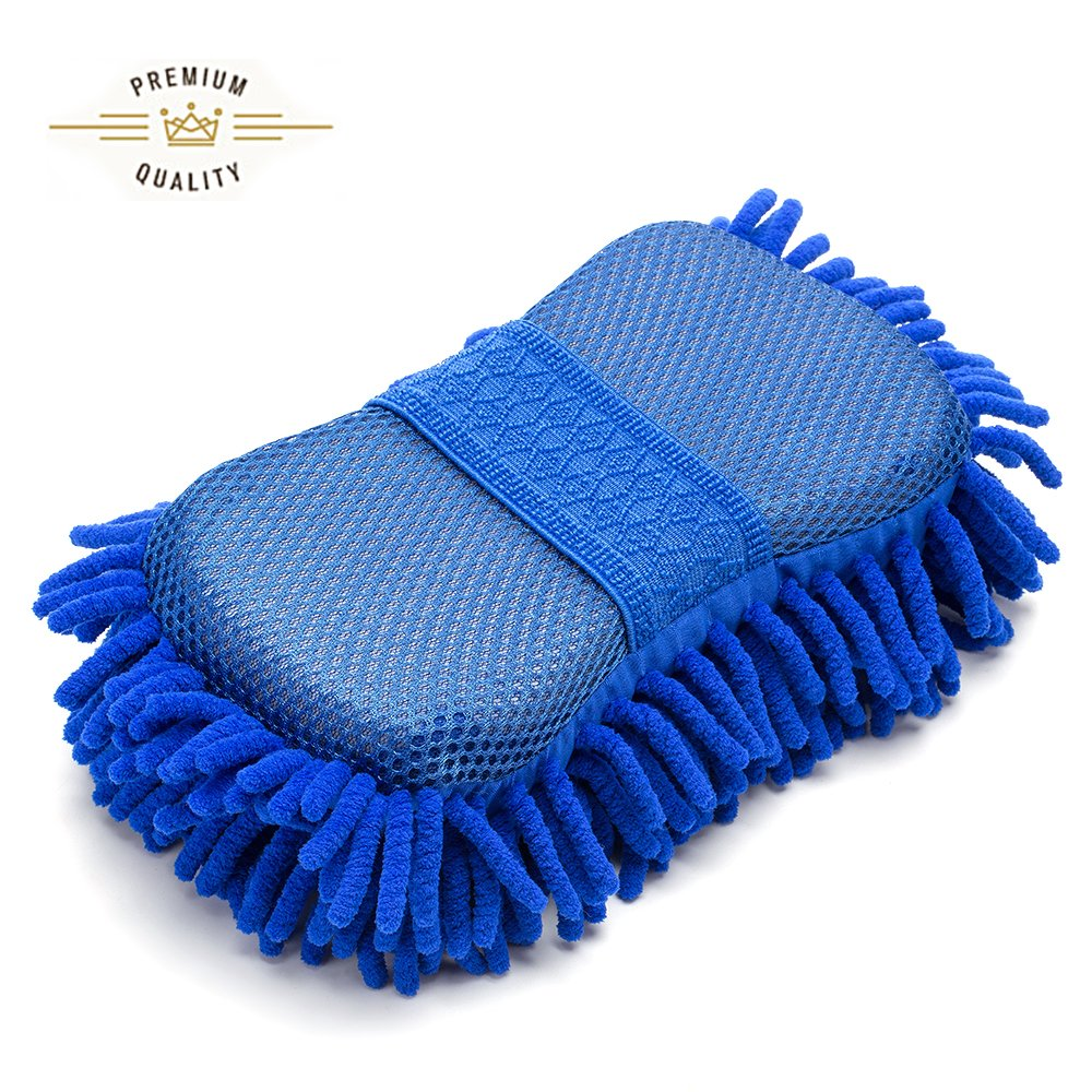 FMS Premium Chenille Microfiber Absorbent Car Wash Mitt with Elastic Strap,Universal Scratch-Free, Lint-Free Sponge Pad for Automotive Cleaning, Waxing, Polishing by (Blue)