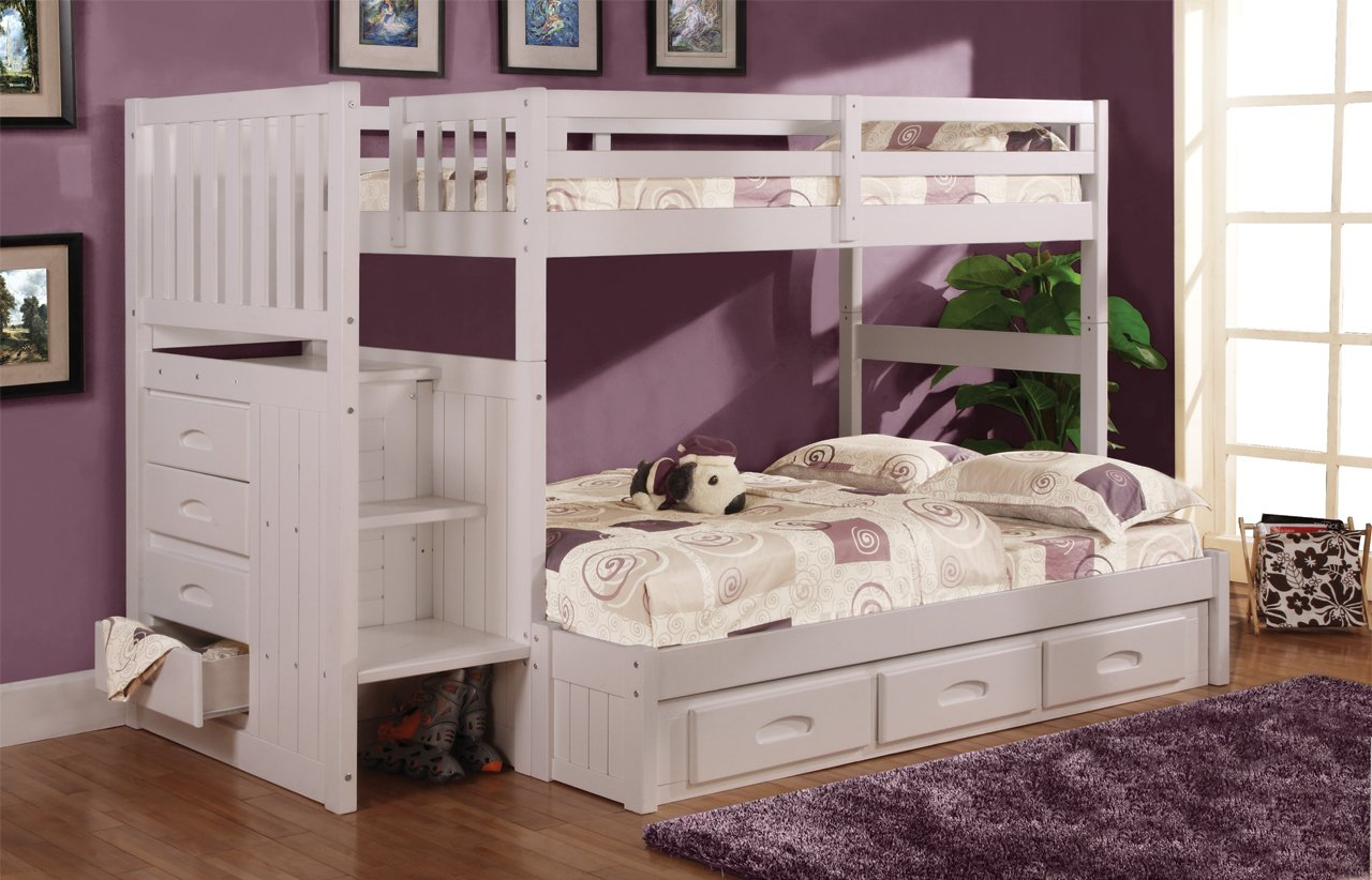 Amazon Com Twin Over Full Stair Stepper Bed With 3 Drawers In White Finish Kitchen Dining