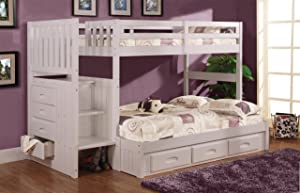 Twin Over Full Stair Stepper Bed with 3 Drawers