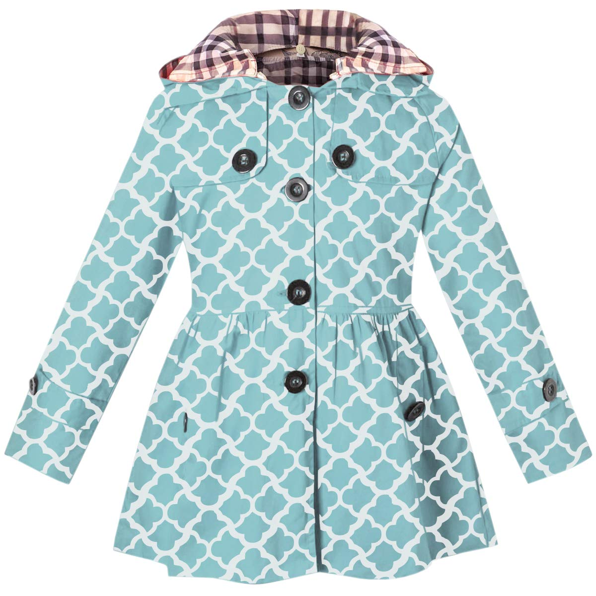 Kids Girls Hooded Trench Coat, Hoodie Jacket Outwear for Girls, Geometry Print Blue, 7-8 Years=Tag 140