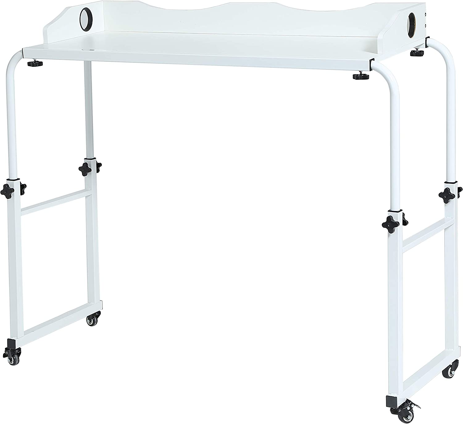 UNICOO - Height Adjustable Overbed Table Laptop Cart Computer Table, Food Tray Desk,Rolling Medical Table