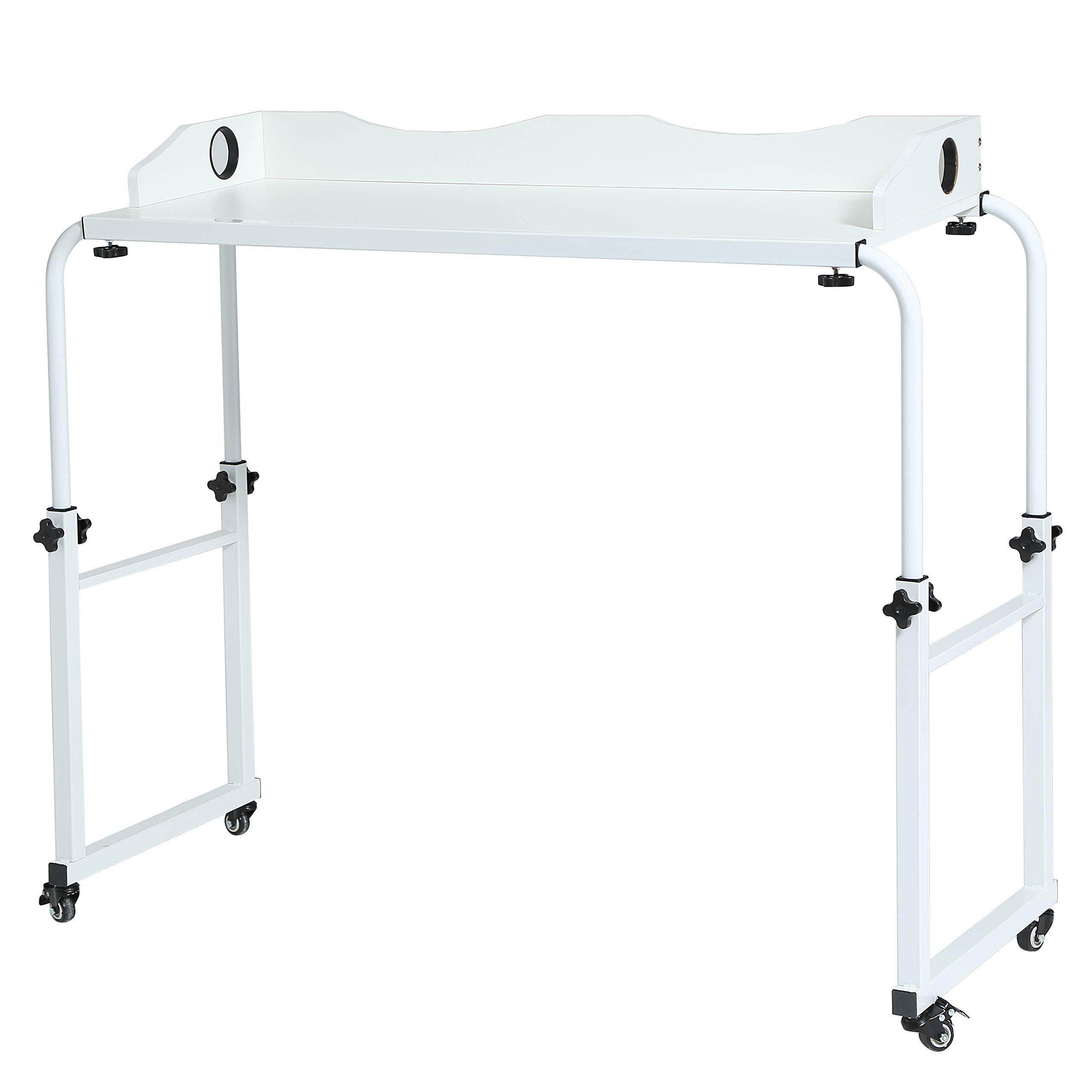 UNICOO - Height Adjustable Overbed Table Laptop Cart Computer Table, Food Tray Desk,Rolling Medical Table by UNICOO