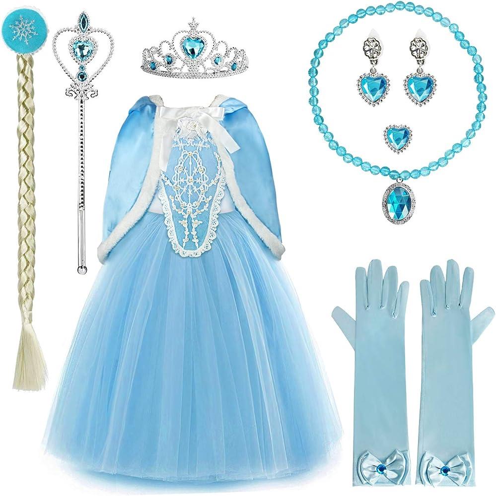 Discoball - Vestido de Princesa para niñas con Capa de Pelo ...