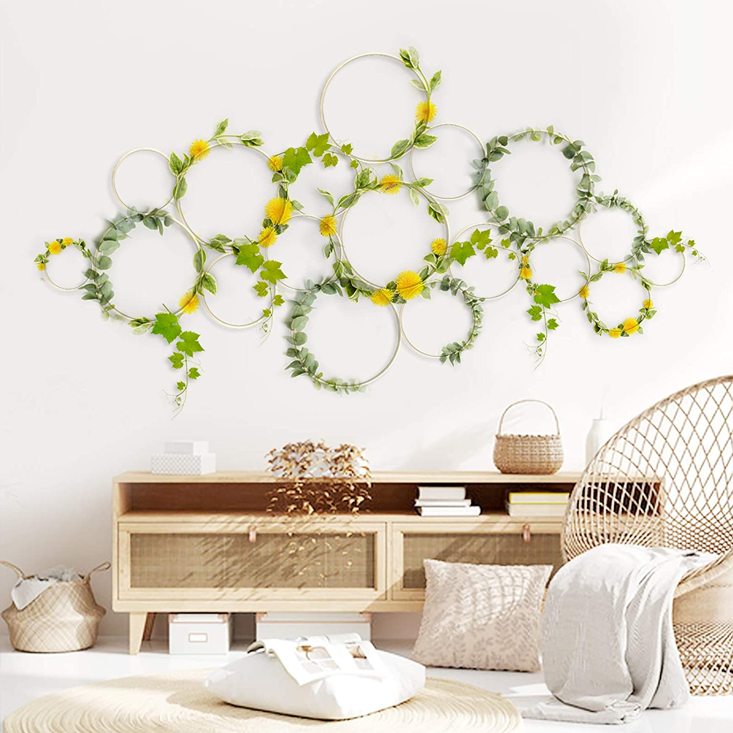 Sunlit Boho 18 PCS Bamboo Wall Trellis DIY Set, Plant Trellis, Vines Trellis, Display for Climbing Potted Plants, Rustic Vintage Home Garden Decor