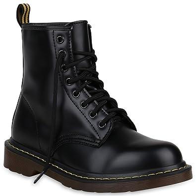 ed01a862a1e61c Damen Stiefeletten Outdoor Worker Boots Leder-Optik Schuhe 148301 Schwarz  42 Flandell