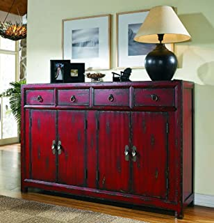 Hooker Furniture 58u0027u0027 Red Asian Cabinet, Hand Painted ...