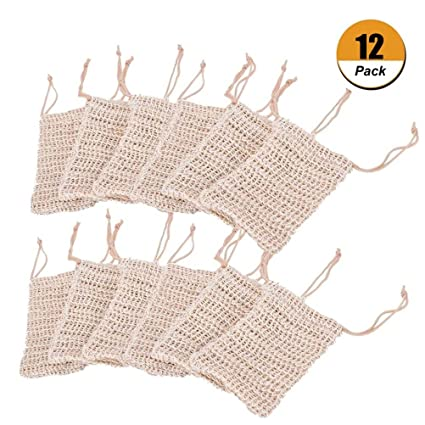 6 Pcs Natural Exfoliating Soap Bags Handmade Sisal Soap Bags Natural Sisal Soap Saver Pouch Holder Bath Soap Holder Bags Home Improvement