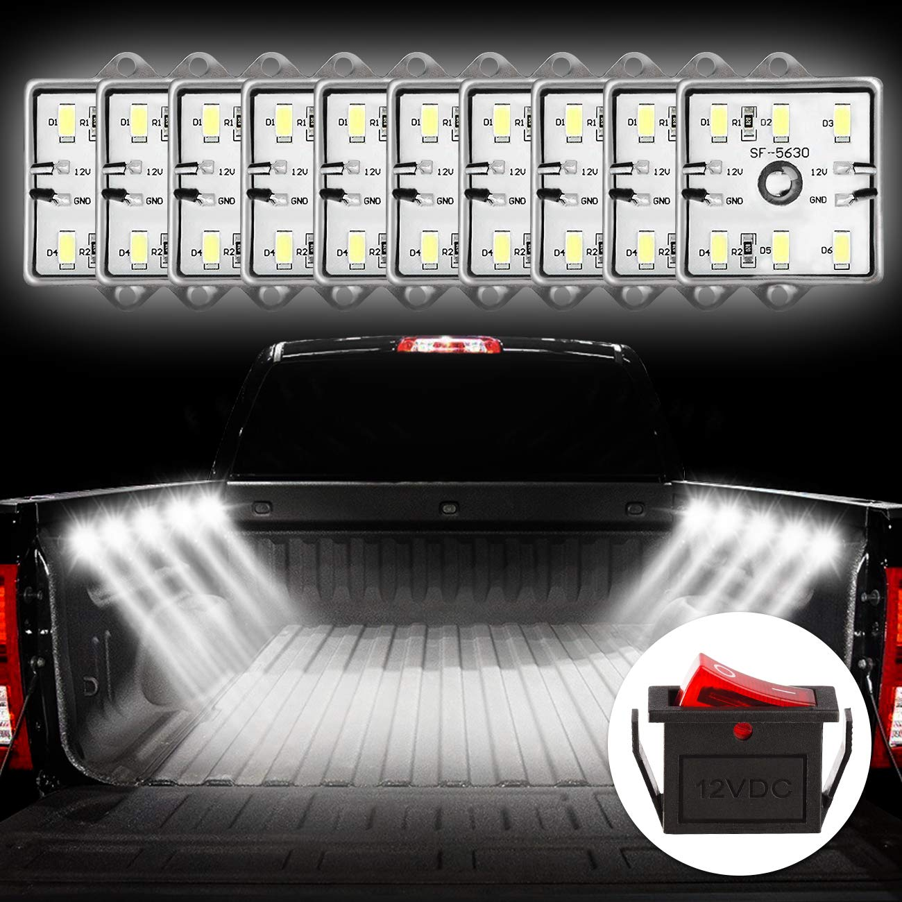 Favoto Truck Bed Light Van Interior Light RV Interior Lights 5730 SMD Super Bright On/Off Switch Included IP67 Waterproof LED Ceiling Lights for Van RV Boats Caravans Trailers (8 Modules) FTCA-48Led-Light