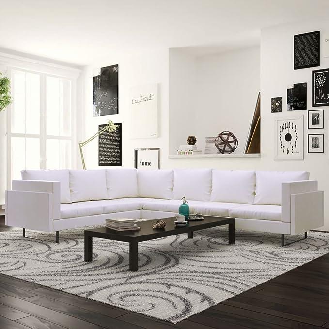 Luckyfu questo sofá esquinero de Piel Artificial Blanca ...