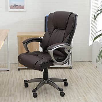 amazon com chairman office chair desk chair brown pu leather