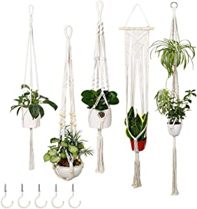 Powoner 5 Packs Macrame Plant Hangers with 5 Hooks, Different Tiers, Handmade Cotton Rope Hanging Planters Set Flower Pots Holder Stand, for Indoor Outdoor Boho Home Decor (4 Legs, 5 Sizes)