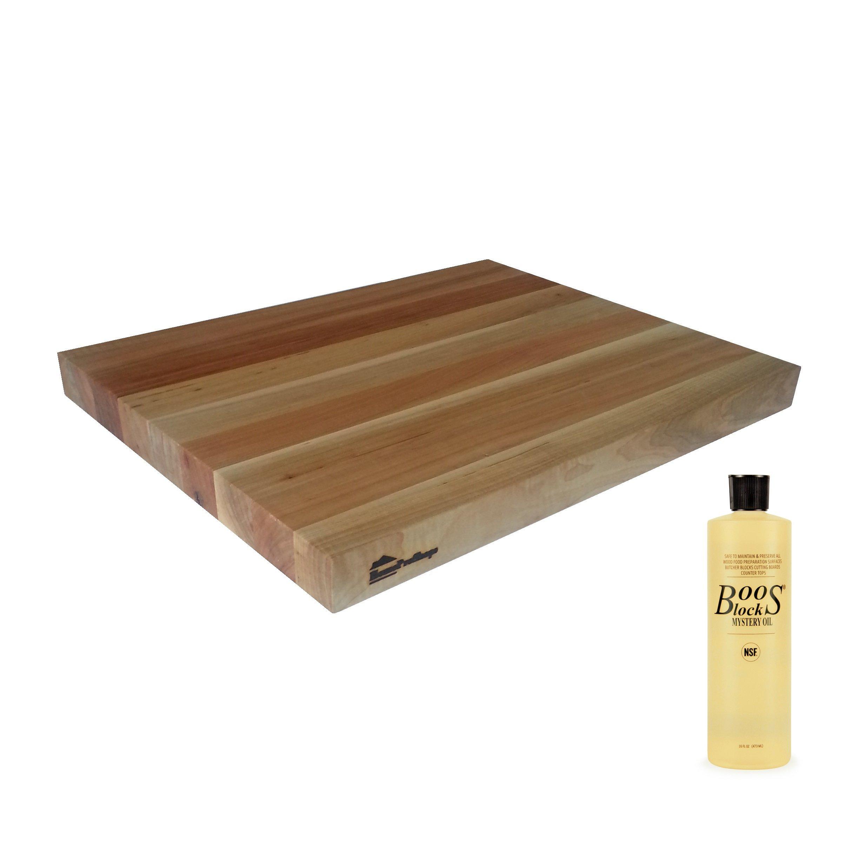 Wood Shelf Platform ONLY - 1-1/2'' x 15'' x 19'' - For Revashelf RAS-ML-HDCR Heavy Duty Mixer Lift - Maple Butcher Block - w John Boos MYSB Mystery Oil 16 oz Bottle Included - Trimmable