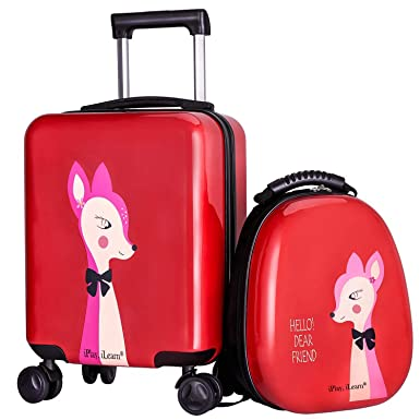 Kids Luggage Hard Shell Travel Carry On Suitcase Backpack Set Girls Child