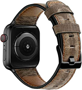 Yixuel-Genuine Leather Apple Watch Bands Accessories Compatible With Apple Watch Series 6/5/4/3/2/1 SE/Nike+/Sports/Edition 42mm 44mm Wristbands Replacement Strap For Men Man (Coffee-B)