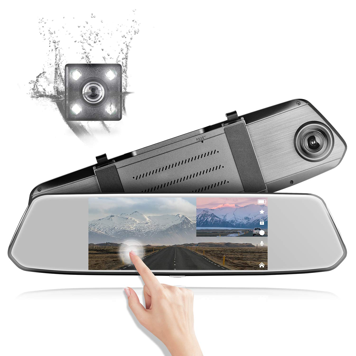 """Mirror Dash Cam, TIMPROVE FHD 1080P Backup Reverse Camera 7"""" IPS Touch Screen 170° Wide Angle Front and Rear Dual Lens with Night Vision, G-Senor, Parking Monitor, Loop Recording, WDR dc-2"""