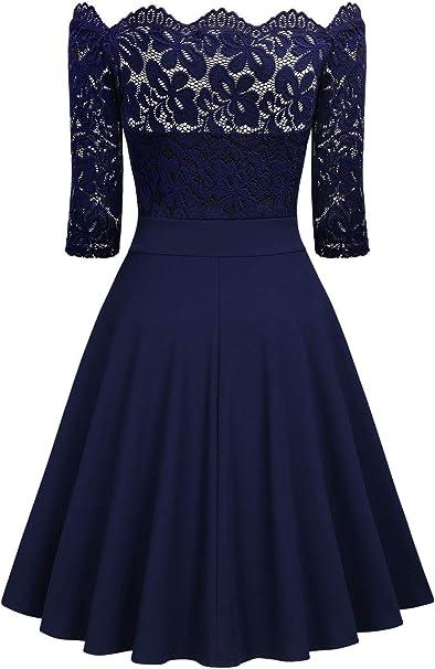 MISSMAY damska sukienka w stylu vintage, koronka z kwiatami, dekolt w łÓdkę, formalna sukienka typu swing.: Odzież